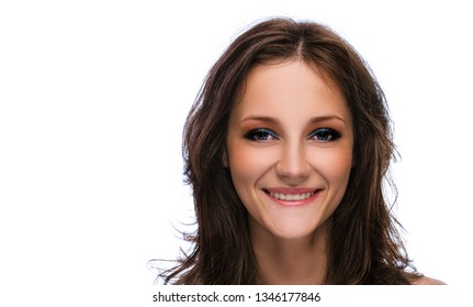 Portrait of young smiling beautiful woman with dark hair, isolated on white background.