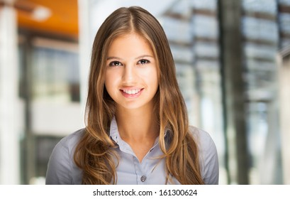 Portrait of a young smiling beautiful woman