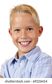Portrait of young smiling boy.  Isolated on white background.
