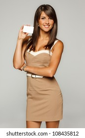 Portrait of young smiling business woman in beige dress holding empty credit card isolated on gray background