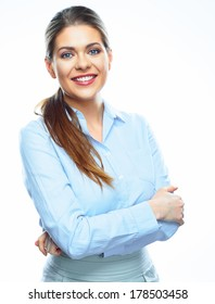 Portrait of young smiling business woman on white background isolated. Blue shirt.