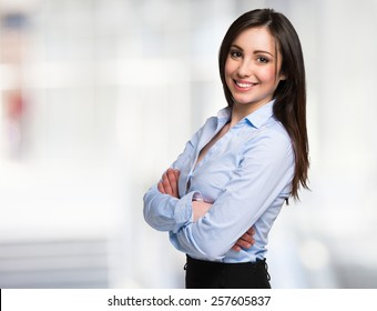 5031ef29b5d Portrait of a young smiling businesswoman