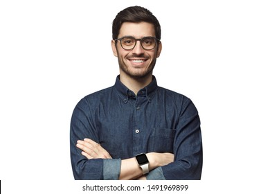 Portrait of young smiling caucasian man with crossed arms, wearing smart watch and casual denim shirt, isolated on white  - Shutterstock ID 1491969899