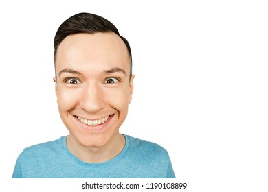 Portrait of young smiling guy isolated on a white background.