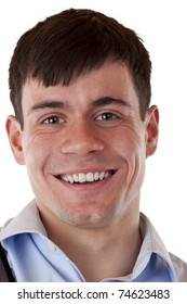 Portrait of a young smiling man.Isolated on white background.