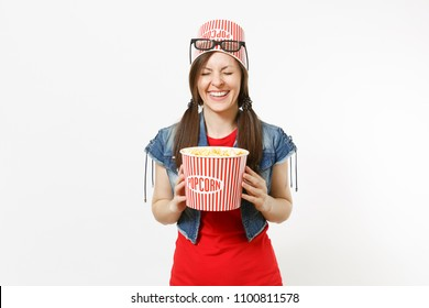 Portrait of young smiling pretty woman with closed eyes in 3d glasses with bucket for popcorn on head watching movie film, holding bucket of popcorn isolated on white background. Emotions in cinema