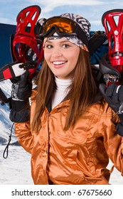 Portrait of young snowboard smiling woman; isolated on white