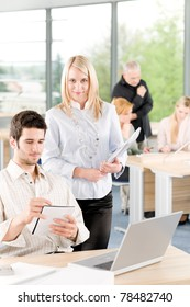 Portrait of young student businesspeople in office having meeting