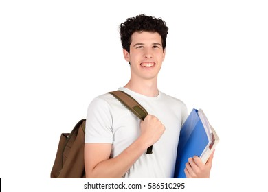 Portrait of young student holding notebook. Isolated white background.
