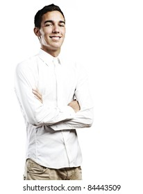 portrait of young student smiling with shirt against a white background