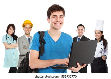 Portrait of young student standing in front of people in different kind of profession
