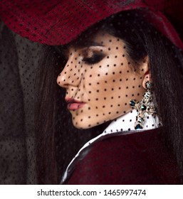 Portrait of young stylish high society lady brunette in dark red hat with her veil down looks over her shoulder