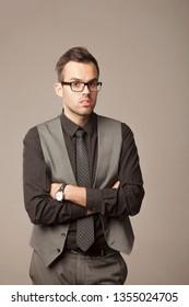 Portrait of young success handsome businessman in suit