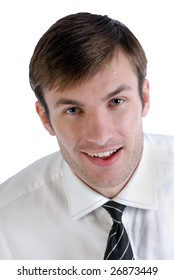 Portrait of  young surprised businessman in  shirt with  tie isolated on white