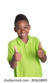 Portrait of a young tween giving a thumbs up isolated on white