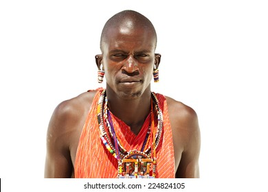 Portrait of young warrior massai man isolated on white background