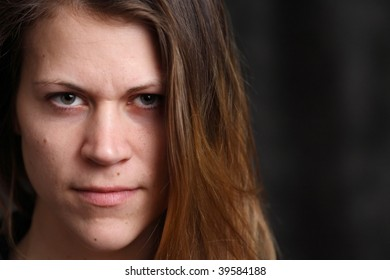 Portrait of young white woman