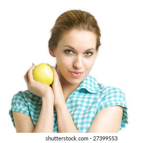 Portrait of young woman with apple on a white background