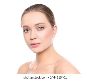 Portrait of young woman with beautiful face on white background