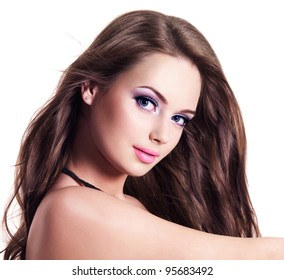 Portrait of young  woman with beautiful face and hairs - isolated on white