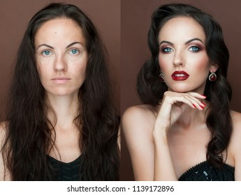 Portrait of young woman before and after make up - isolated photo. Xmas New Year hairstyle and make up. Beauty Girl portrait. Snowflakes, professional makeup, red lipstick