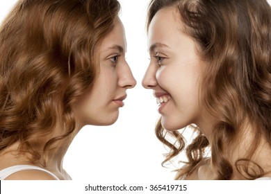portrait of a young woman, before and after rhinoplasty