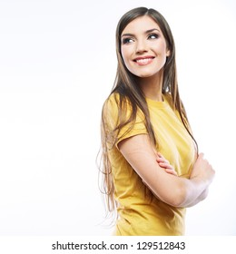 portrait of young woman casual portrait positive view, yellow  dressed, big smile, beautiful model posing in studio over white background,  Isolated on white.