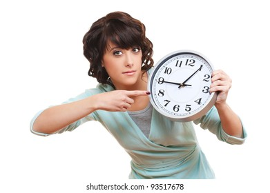 portrait of young woman with clock. isolated on white background
