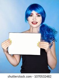 Portrait of young woman in comic  pop art make-up style.  Female with paper in hands.
