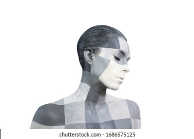 Portrait of a young woman with the creative makeup in shades of grey. Gray and white squares painted on the female face. Isolated on white background.