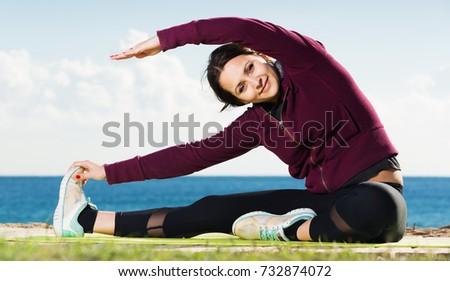 Portrait Young Woman Doing Yoga Asanas Stock Photo (Edit Now