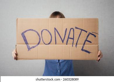 Portrait  young woman  donation