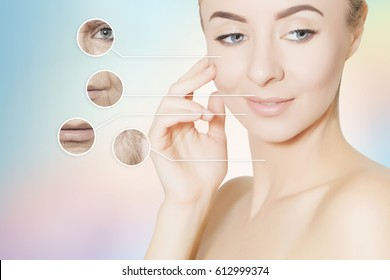 portrait of young woman face with circles of bad problem skin