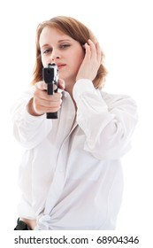 portrait of a young woman with a gun