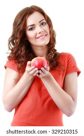 Portrait of young woman holding an apple, isolate on white
