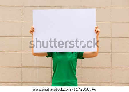 Portrait Young Woman Holding Blank White Stock Photo Edit