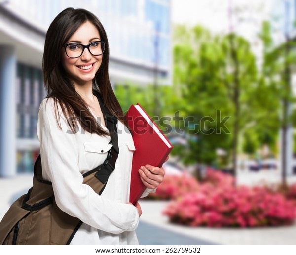 Portrait Young Woman Holding Book Stock Photo Edit Now