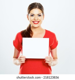 portrait of young woman holding sign card . white background . isolated .