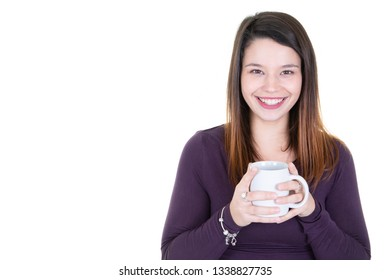 Portrait young woman holding white coffee cup with copy space isolated on white background