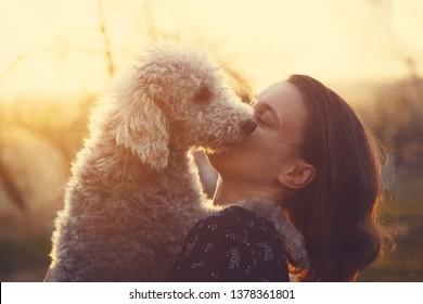 portrait of young woman hugging her bedlington terrier dog inn evening sunset light, best friends playing outside
