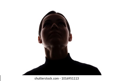 Portrait of a young woman looking up, front view - horizontal silhouette