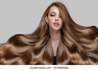 portrait of a young woman with luxurious thick hair