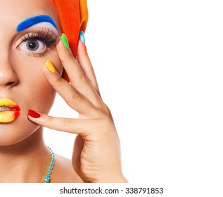 Portrait young woman with multicolored make-up