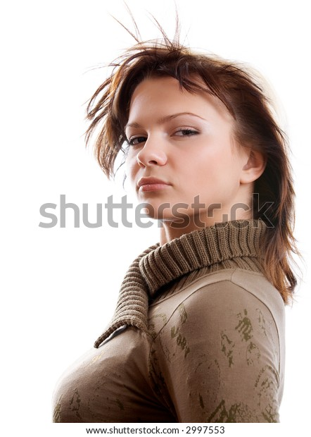 Portrait of young woman on white background
