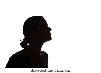 Portrait of a young woman, pensive, thinking side view - silhouette, isolated