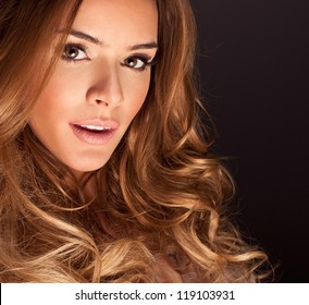 Portrait of a young woman with perfect makeup