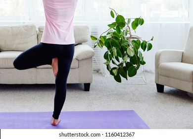 Portrait of young woman practicing balance yoga asana Vrikshasana at home indoor, copy space, back view. Girl doing tree pose. Relaxing and doing yoga. Wellness and healthy lifestyle