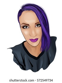 Portrait of a young woman with purple hair. Raster illustration