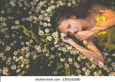 Portrait of young  woman with radiant clean skin lying down amid flowers on a lovely meadow on a spring/summer day