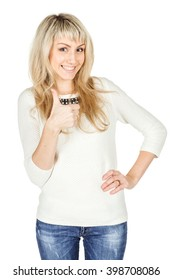 Portrait of young woman showing thumb up hand sign gesture. human emotion expression and lifestyle concept. image on a white studio background.